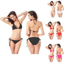 ФОТО 2018 swimwear women bandage bikini sets push up bra swimsuit bathing suit brazilian elastic lace up wimming suit free size l742