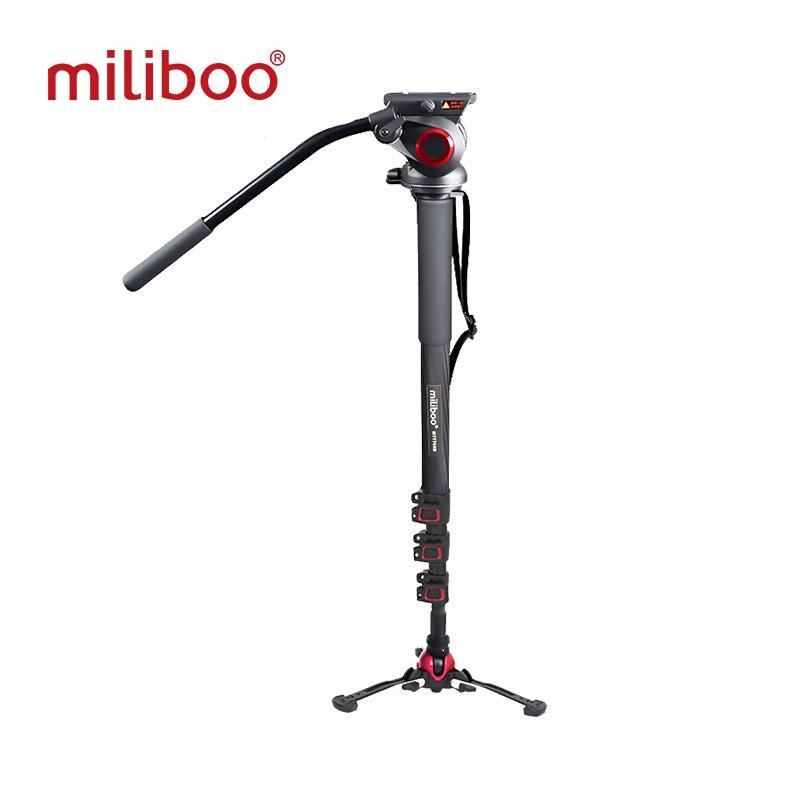 Miliboo aluminium carbone Portable tête fluide caméra monopode trépied professionnel pour caméscope/DSLR support vidéo hauteur Max 187 cm