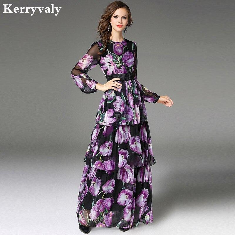 Bohemian Violet 3D Print Floral Maxi Dress Vestido Longo De Festa 2019 Robe Longue Autumn Woman Chiffon Long Dress K945588