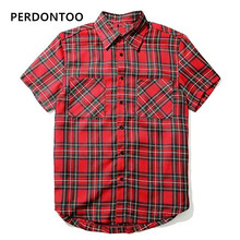 цены Newset Justin Bieber Fear of God FOG Red Tartan Plaid With Side Zipper Spring Summer Casual Short Sleeve Cotton Shirts