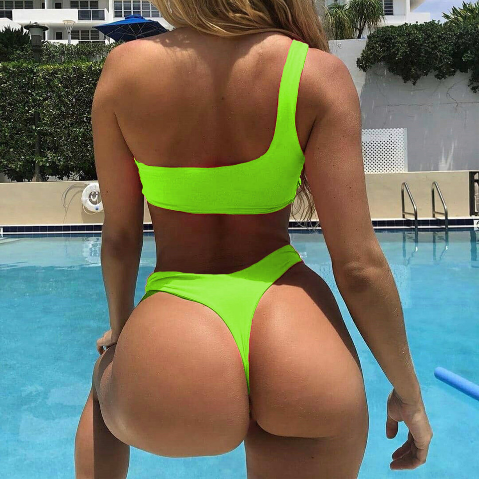 Bikini Spalla per Le Donne Colore Fluorescente Bikini