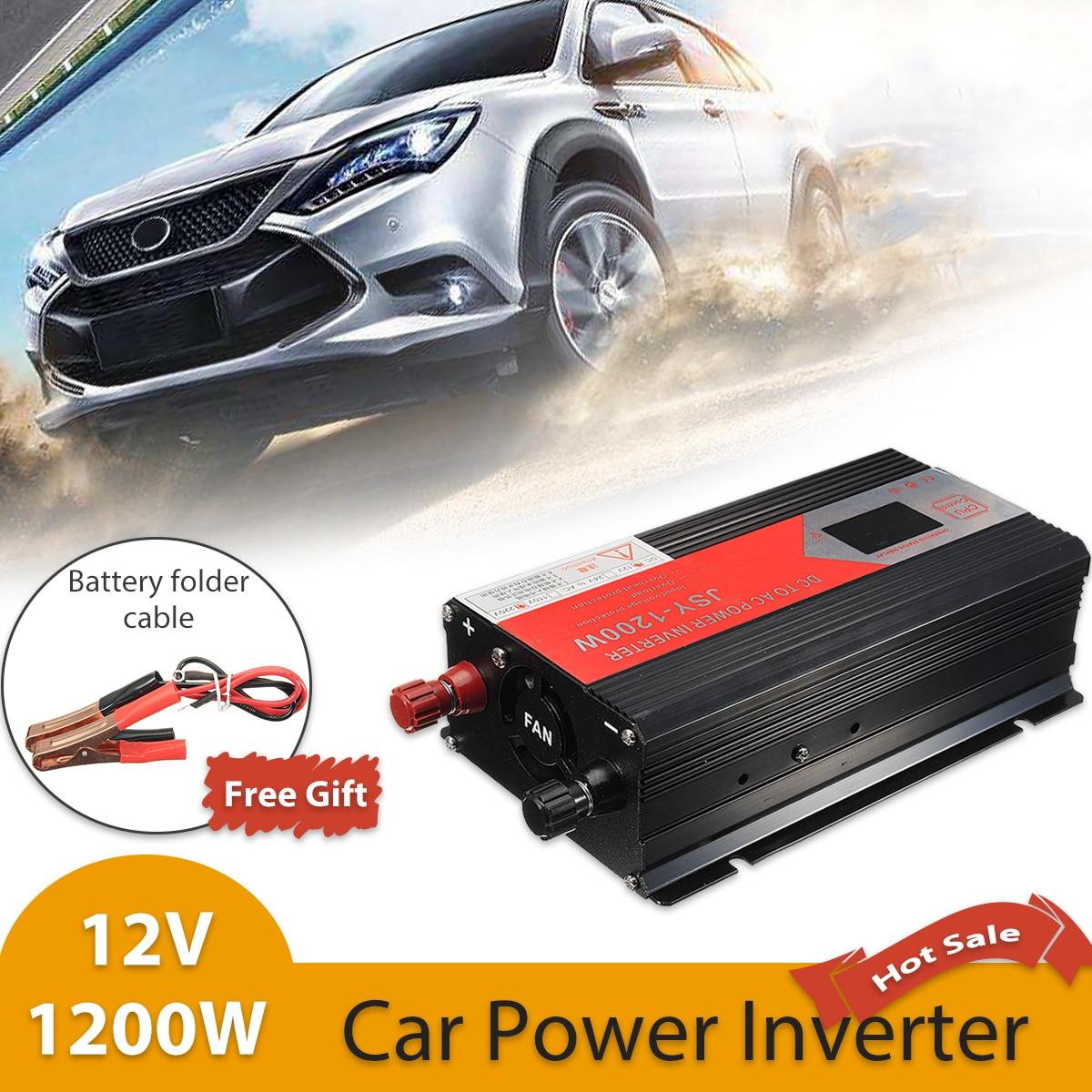 цена на 1200W Sine Wave 50Hz Car Inverter DC 12V To AC 220V Voltage Converter Adapter Charger Transformer LED Display Inversor 12V 220V