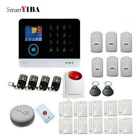 SmartYIBA Multi Language Voice RFID WiFi 3G Alarm System Sensor With Door Gap Motion Alam Sensor Panic Alarm Strobe Siren Kits