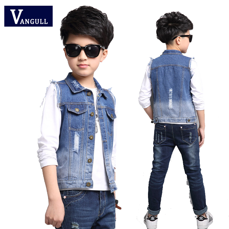 2017 Spring and Autumn Hot Child Cowboy Vest 5 15 year old fashion sleek hole wild