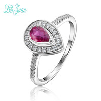 L Zuan S925 Fashion Sterling Silver Jewelry Heart Shaped Natural Pink Tourmaline Rings For Women Party