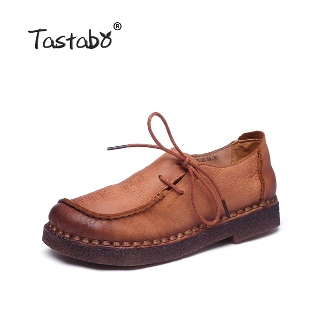 Tastabo Handmade vintage women shoes genuine leather female moccasins loafers soft Comfortable casual shoes flats Plus Size