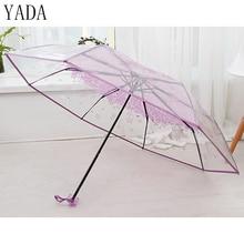 YADA Romantic Sakura Transparent umbrella Rain Women Environmental Protection Umbrella For Womens Windproof DIY Umbrellas YS061