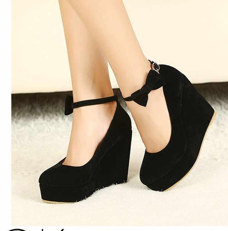 b4934d86b ... Black red Elegant wedges shoes wedges sandals for women platform high  heels round toe high heels ...