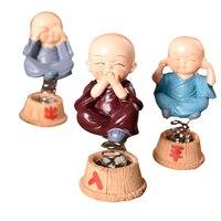 Schütteln Tead Mönch Chinesische Kungfu Mönch Figurine Buddha Statue Haushalt Auto Decor Frühling Baby Puppen Mandala Dekor Handwerk