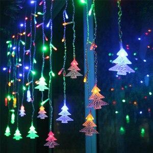 Наружная декоративная лампа, гирлянда, 220 В переменного тока, окно, Рождество, карнизы, перила, Рождественская елка, подвеска, Декор, светодио...