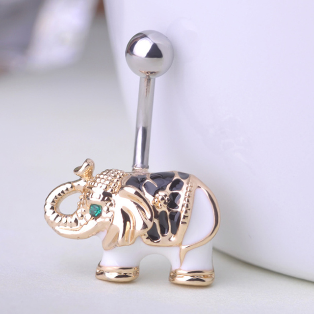 Gold Elephant Belly Button Ring