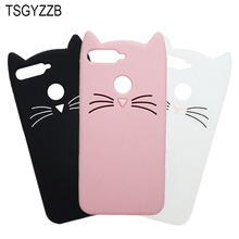 For Huawei Y6 2018 Case Cover Prime Cases Phone Back Cute Beard Cat Soft Sillicone Coque (2018)