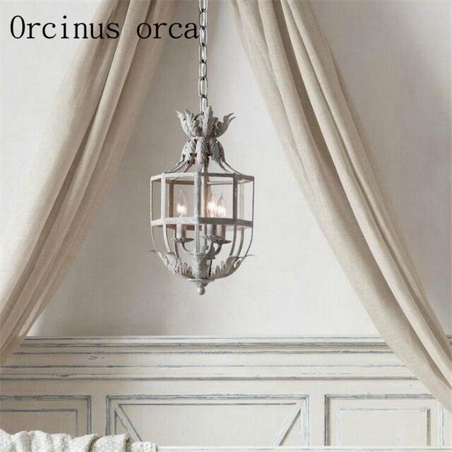 French Princess Room Flower Chandelier American Style Iron Art Vintage Lantern Bedroom Entrance Hallway Study Lamp