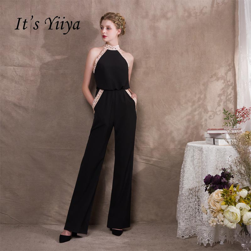 It's Yiiya Halter Crystal Pockets Zipper Empire Dinner Party Dress Elegant Jumpsuit Formal Pant Suit Evening Dress Pants NX013