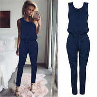 Ladies Summer Jumpsuits 2019 Fashion Casual Sleeveless O-Neck Solid Jumpsuit Black Gray Blue Beach Jumpsuit Women Work Clothes