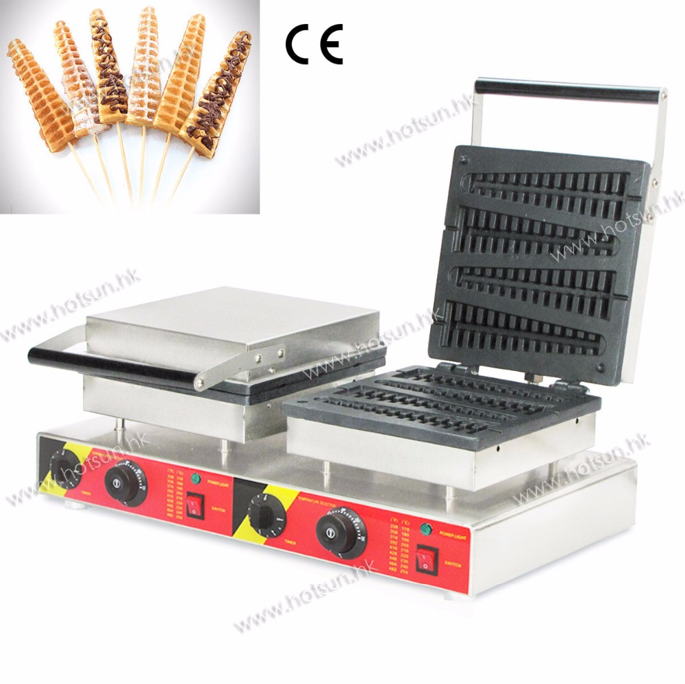 Free Shipping Commercial Use Non-stick 110V 220V Dual Electric Lolly Waffle Maker Machine Iron Baker