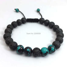 2017 New Arrival Mens Beaded Jewelry 8mm Lava Stone Beads Tiger Eye Spar Bracelets Party Gift Yoga Jewelry