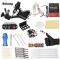 Solong Complete Tattoo Kit Professional Machine Gun 7 Inks Power Supply Needle Grips EU Plug
