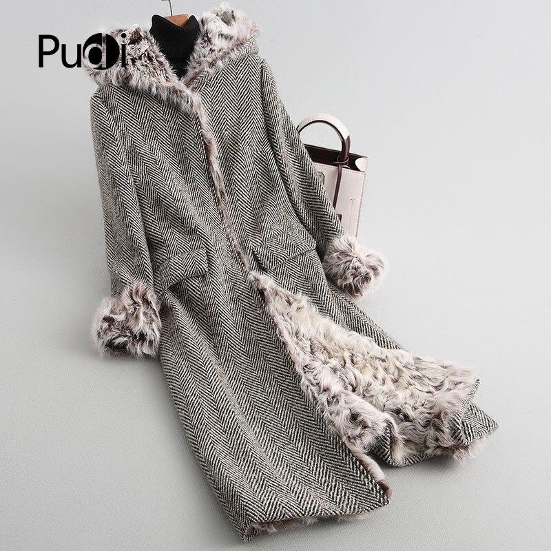 PUDI A18623 delle donne inverno caldo cappotto di Lana con collo di pelliccia di pecora fodera del cappotto della signora del rivestimento del cappotto soprabito
