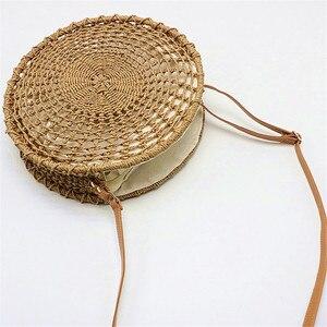 Image 5 - Sac de paille rond ajouré pour dames, sacoche tissée à la main, sacoche à bandoulière