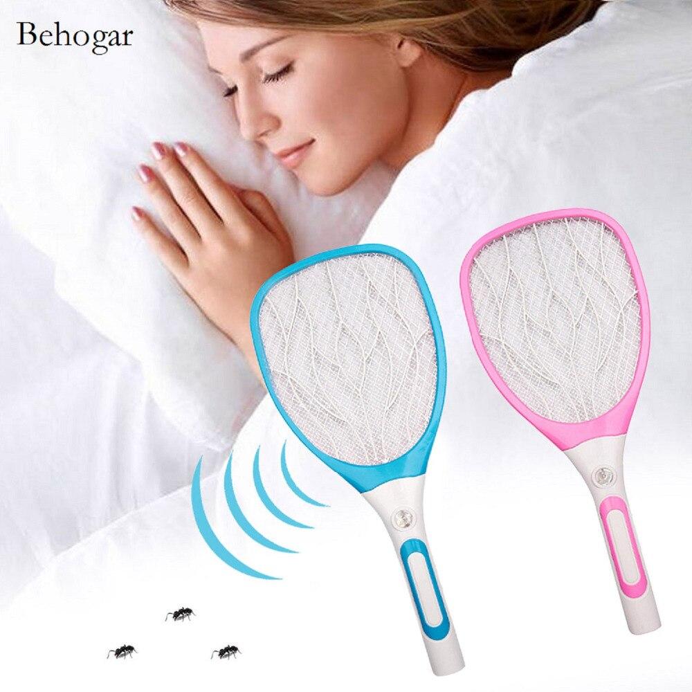 Behogar 3 Couche Grille Multi-fonction USB Rechargeable LED Électrique Fly Zapper Tapette Moustiques Insectes Raquette Tueur Raquette