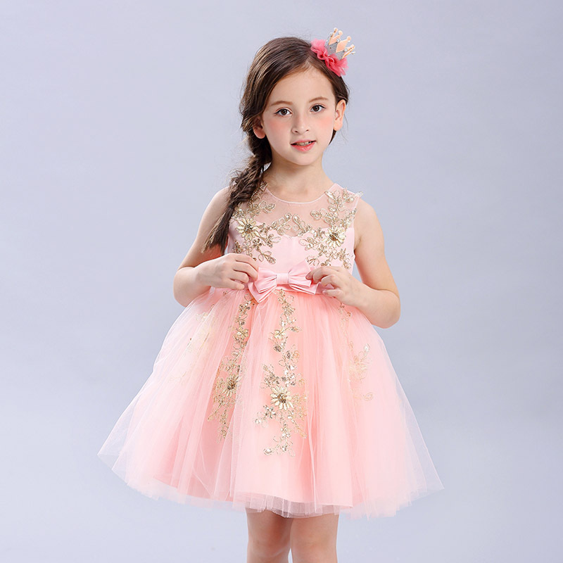 Baby Costume Flower Girls Dress Bow Tie Champagne Wedding Kids Clothing Princess Dress Party Dresses Children Clothes 4-9Y
