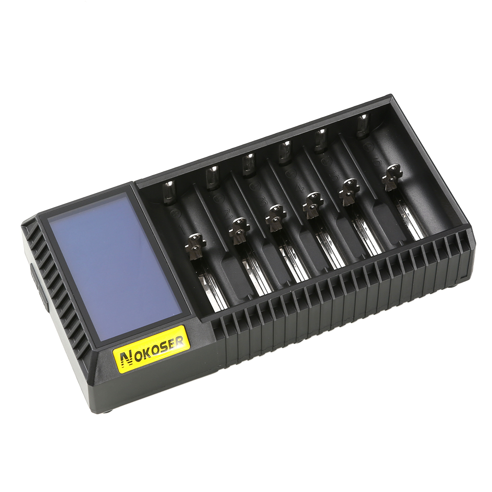 NOKOSER D6U 6 Slot LCD Intelligent Li-ion/LiFePO4 Battery Charger for Rechargeable Ni-MH/Ni-Cd AAA/SC 26650/18650 Batteries rechargeable 1500mah 3 7v 26650 li ion battery brown