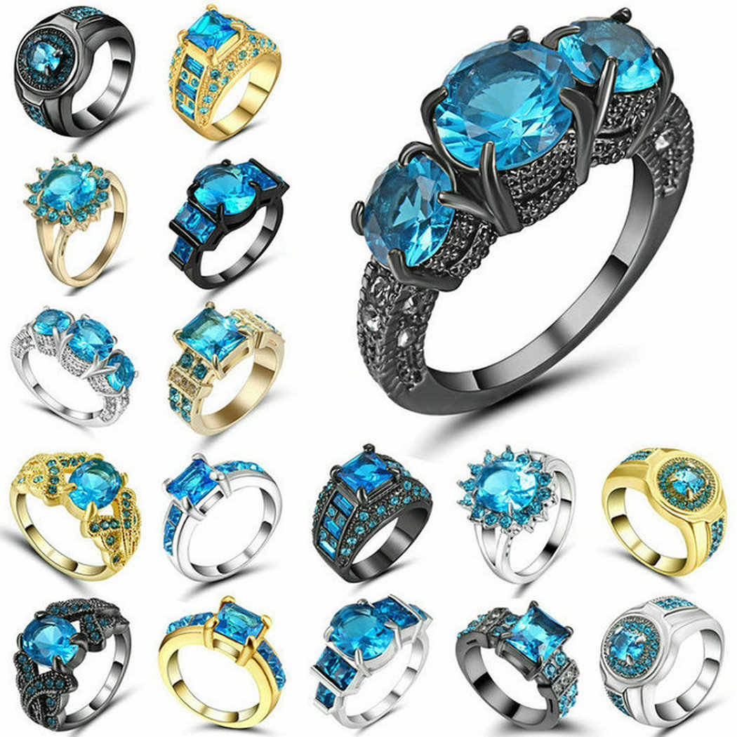Gold Silver Black Color Sky Blue Zirconia Stone Women Engagement Rings Size 9 Mall Luxury Fine Beautiful Band Wedding Jewelry
