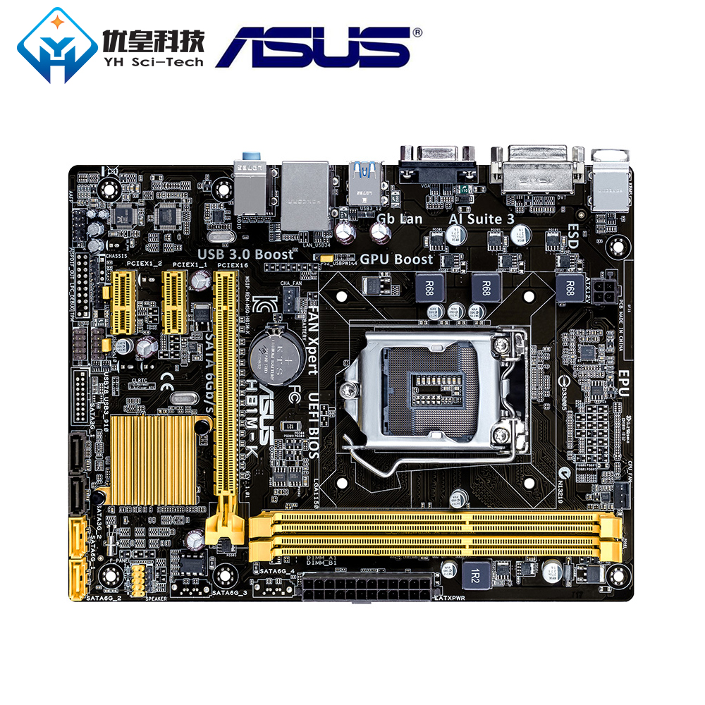 Asus H81M-K Intel H81 Original Used Desktop Motherboard <font><b>Socket</b></font> LGA <font><b>1150</b></font> i3 i5 <font><b>i7</b></font> DDR3 16G Micro-ATX Hot Sale image