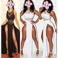 New Lace Black Summer Dress 2016 Fashion White Long Maxi Dress Plus Size Side Open Deep V Neck Beach Women Sexy Club Dress