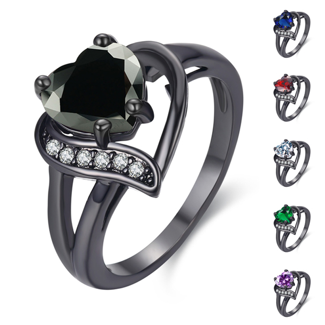 MDEAN White Gold Color Wedding Rings for Women Bijoux Heart black AAA Jewelry Bague engagement Accessories Size 6 7 8 9 10 H530