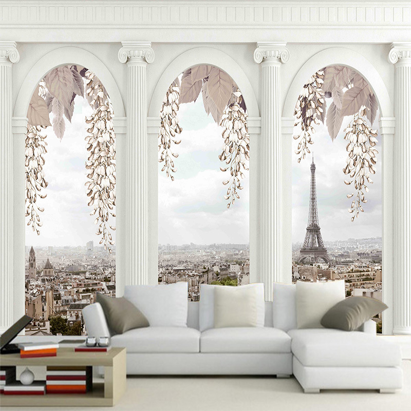 Custom 3D classic Europe architecture mural wallpaper European palace arch TV sofa bedroom background wall paper high quality