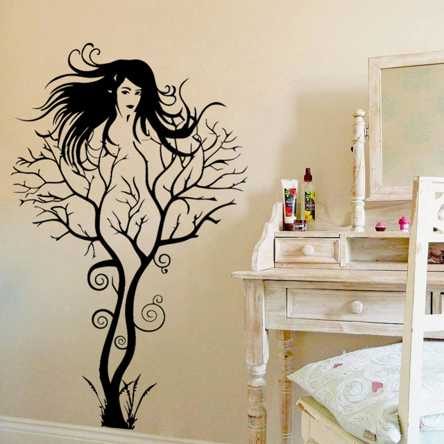 sexy girl tree wall sticker diy hot woman home decorations wall art home pretty fairy girl wall decals stickers