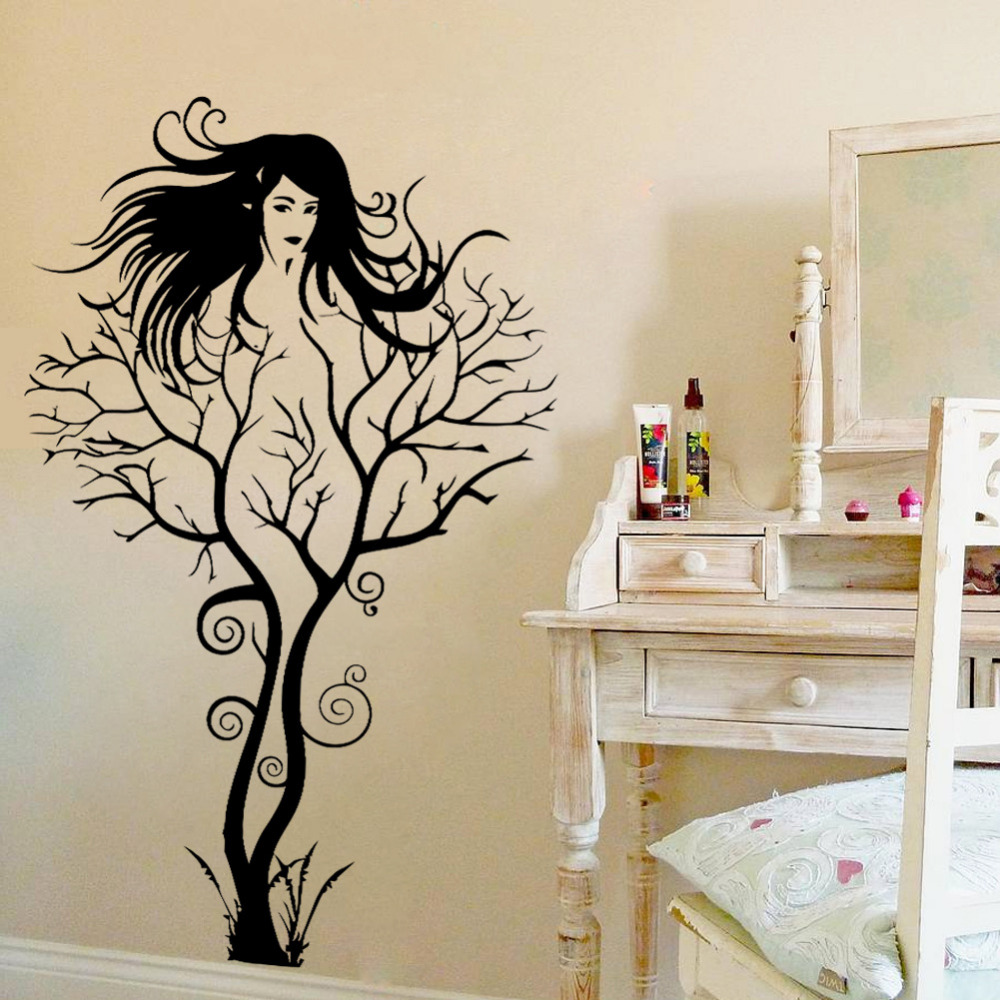 Sexy Girl Tree Wall Sticker DIY Hot Woman Home Decorations Wall Art Decals  Vinyl PVC Wall