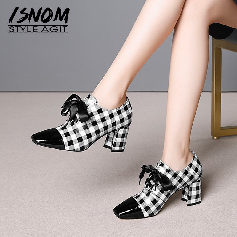 ISNOM Plaid High Heels Women Pumps Lace Up Square Toe Footwear Cow Leather Ladies Shoes Fashion