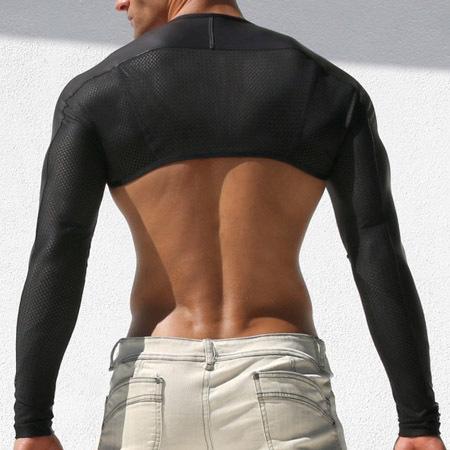 Homens Sexy Palco de Dança Desgaste Mangas Top T-shirt Camisa de Manga Longa Marca de Armas UV Proteger Tornar Bicicleta Equitação Vestuário