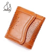 Genuine Leather Wallet Cow Wallets For Women Hollow Out Purse Ladies With Zipper Bags And Purses