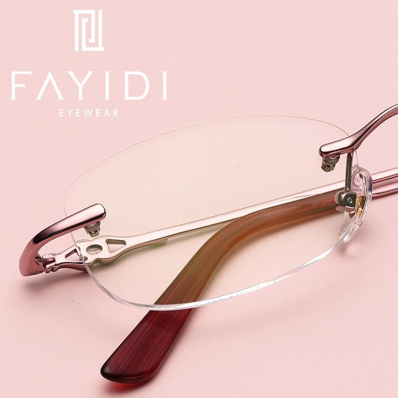 Retro Asphärische Kurzsichtigkeit Purple Legierung Weitsichtigkeit Brillen Brille Frauen F130 Optische Rezept Pale Hochwertige Linse Randlose q66At8