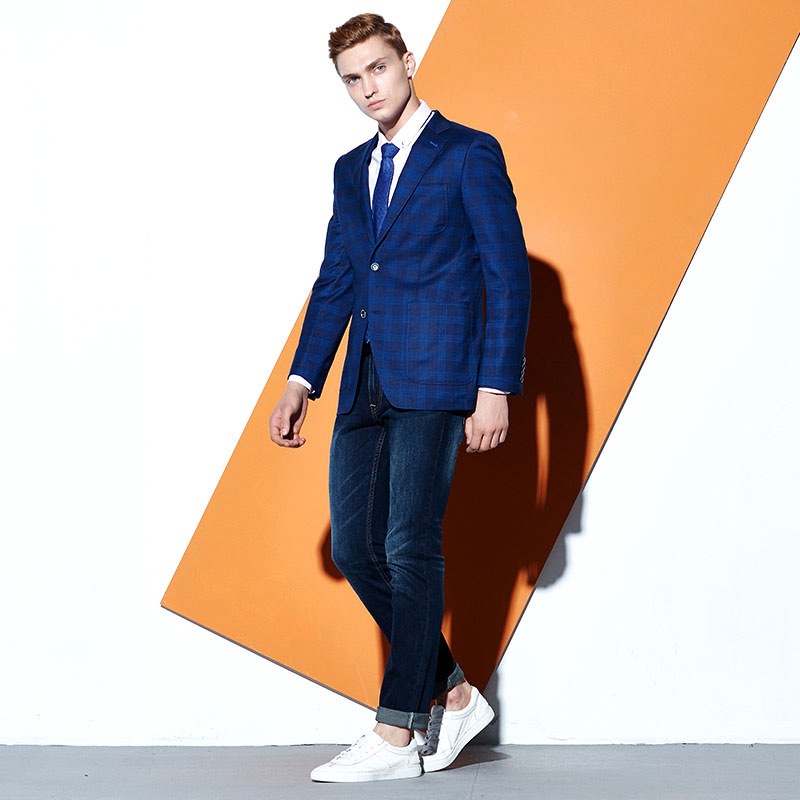 Blazer Men Slim Fit Single Breasted Smart Casual Office Mans Clothes