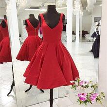 14da720f9 Rojo corto vestidos de baile Simple rodilla longitud de línea de satén boda  vestido de fiesta barato 2019 Venta caliente de dama.