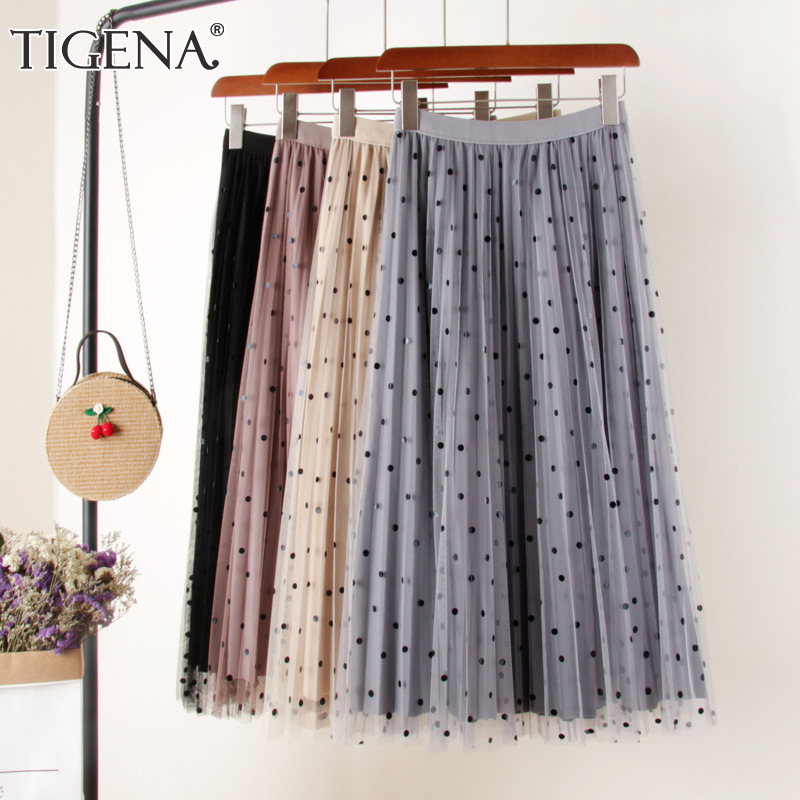 TIGENA Reversible Tulle Velvet Skirt Women Fashion 2019 Spring Elegant Polka Dot Long Skirt Female High Waist Pleated Midi Skirt