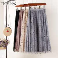 Tigena reversível tule de veludo saia feminina moda 2020 primavera elegante bolinhas saia longa feminina cintura alta saia midi plissada
