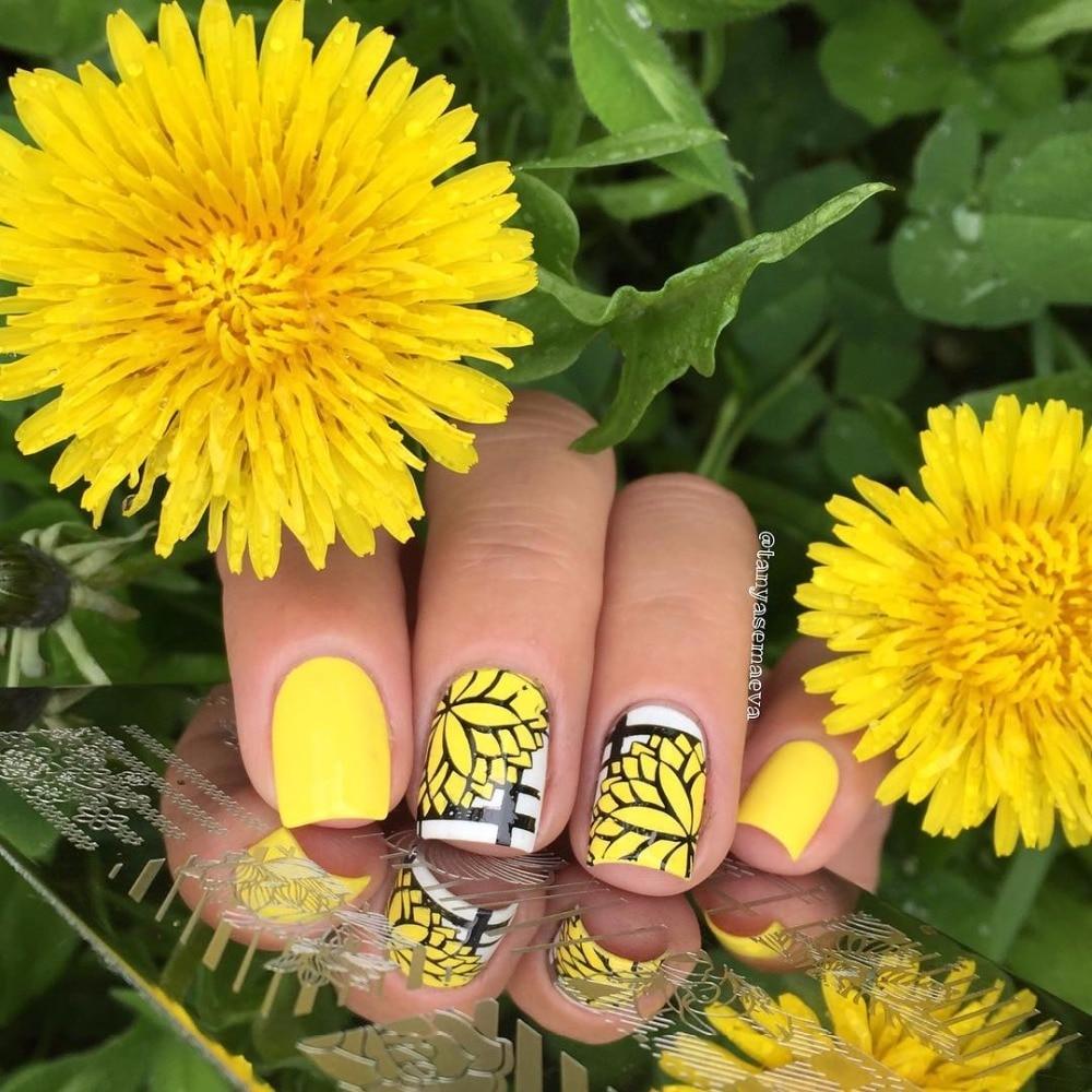 Rolabling Fashion Künstlerische Blumen DIY Nagel Polnischen Stamping ...