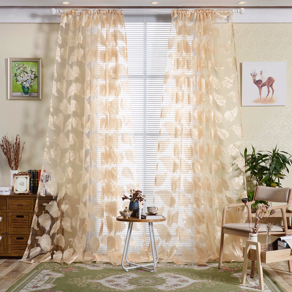 Sheer curtains with patterns - New 1pc Feather Pattern Embroidered Voile Curtains Bedroom Sheer Curtains Living Room 4 Colors Window Curtain