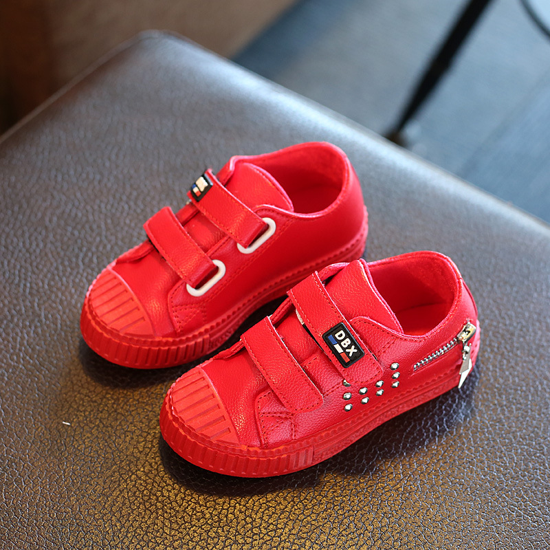 2016 Fashion Kids Shoes Childrens Casual Sneakers For Big Boys Girls 3 Colors PU Leather Rivets Zip Sports Boys Shoes