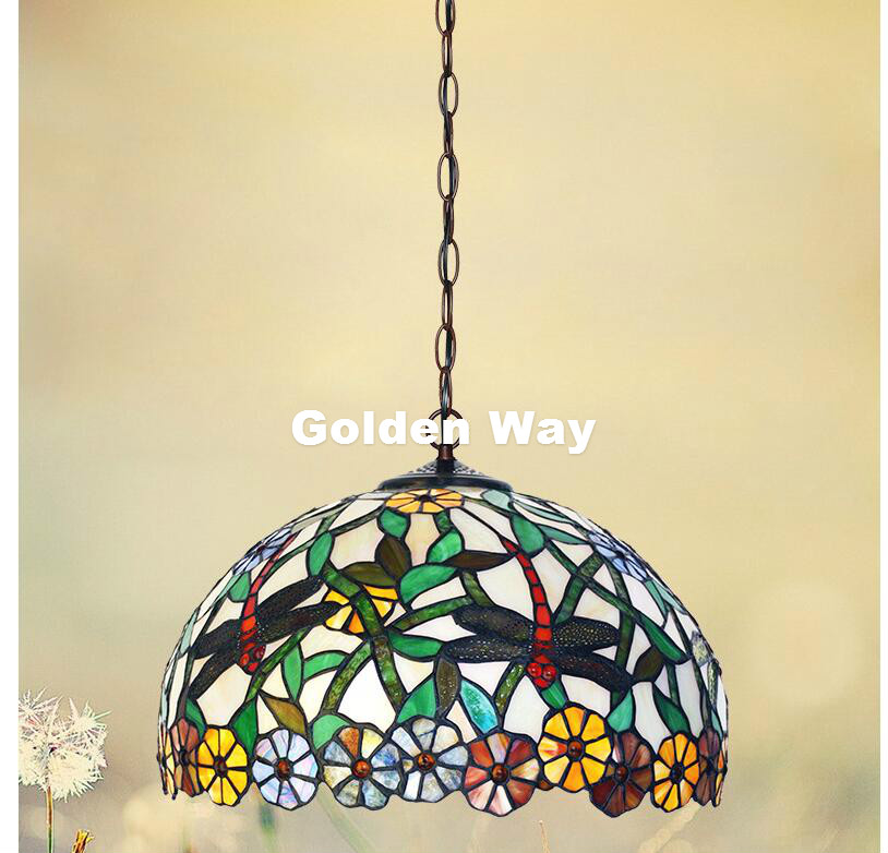 Free Shipping Modern Tiffany Pendant Light Baroque Style Hanging Lamp 12 Inches Stained Glass Suspended Luminaire E27 110-240V 16inch tiffany style rose glass pendant light bedroom study color glass lamp e27 110 240v