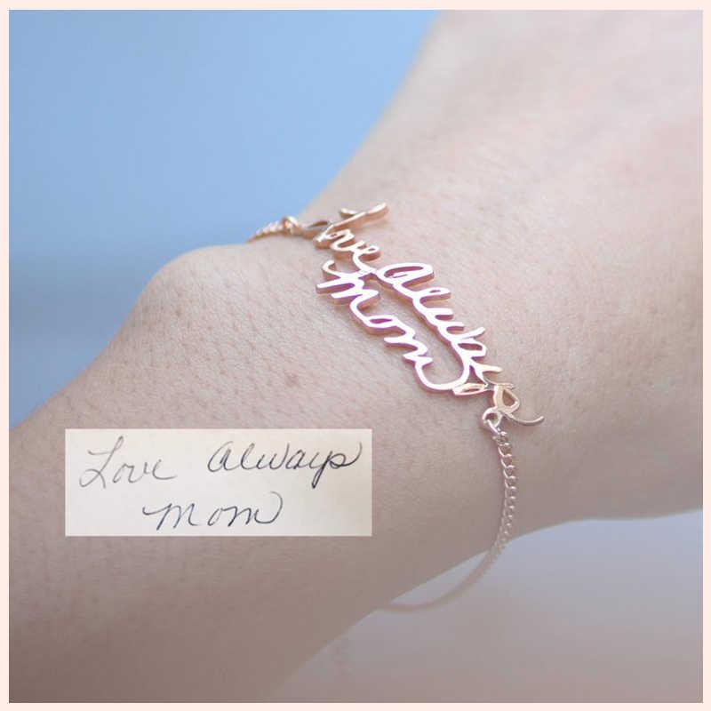 StrollGirl 925 Plata de Ley personalizado personalización letra oro brazalete pulsera-pulsera de escritura real personalizada de joyería de regalo