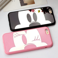 Espelho luxuoso mickey minnie tpu soft case para iphone 6 6 s 6 Plus 5 5S SE Capa Para iphone de Volta Cobre Casos de Coque Fundas