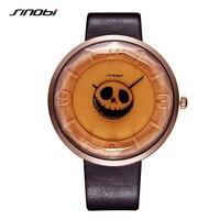 SINOBI Relógios das Mulheres do Crânio de Esqueleto de Halloween Do Punk Elegante Top Marcas De Luxo À Prova D' Água Esportes Homens Relógio Relógios de Quartzo Das Senhoras