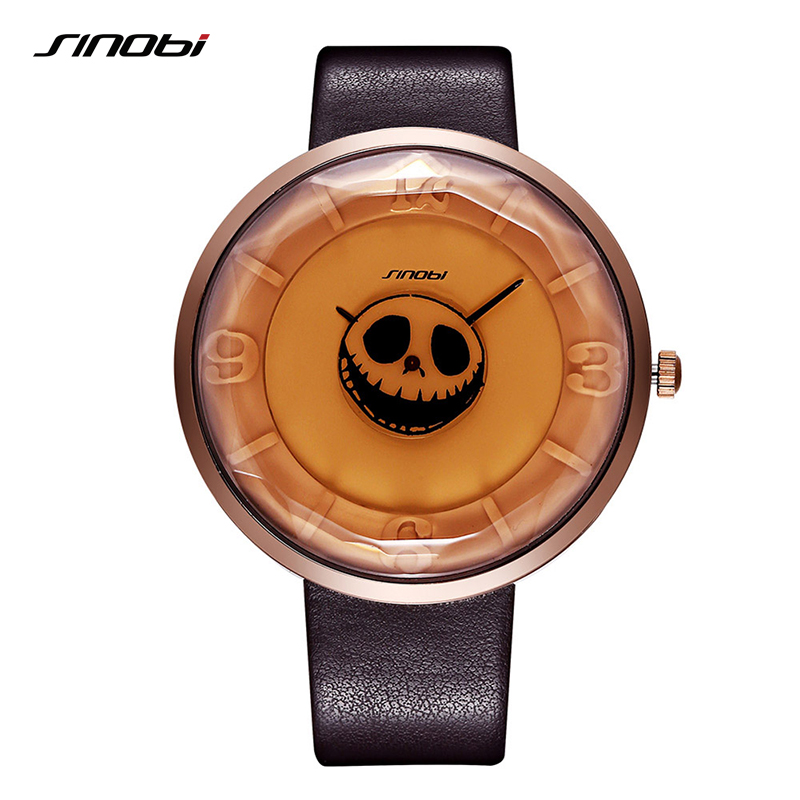 SINOBI Skeleton Skull Women's Watches Halloween Punk Stylish Top Brands Luxury Waterproof Sports Clock Men Ladies Quartz Watches halloween party zombie skull skeleton hand bone claw hairpin punk hair clip for women girl hair accessories headwear 1 pcs
